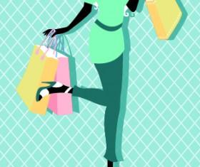 Beautiful shopping girl vector material 03