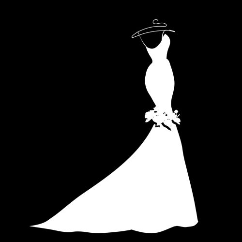Wedding Gown Clip Art: Beautiful Wedding Dress Silhouette Design Vector 01