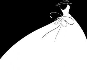 Beautiful wedding dress silhouette design vector 03