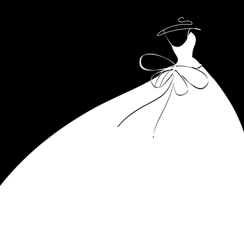 Beautiful Wedding Dress Silhouette Design Vector 03