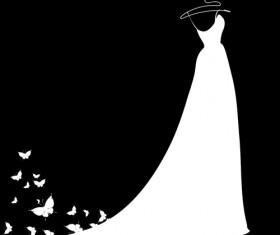 Beautiful wedding dress silhouette design vector 04
