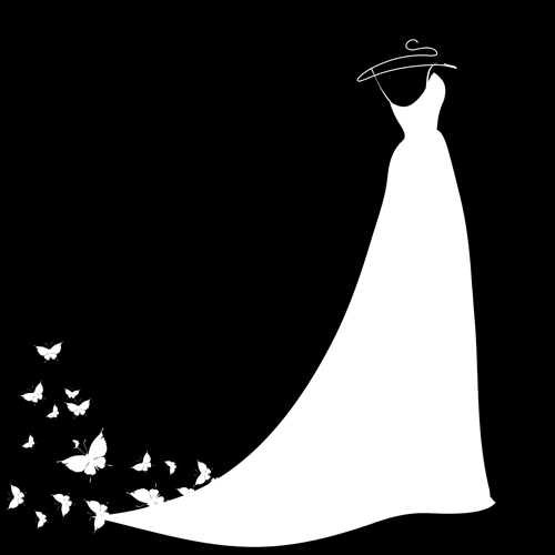 Free eps file beautiful wedding dress silhouette design vector 04