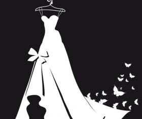 Beautiful wedding dress silhouette design vector 05