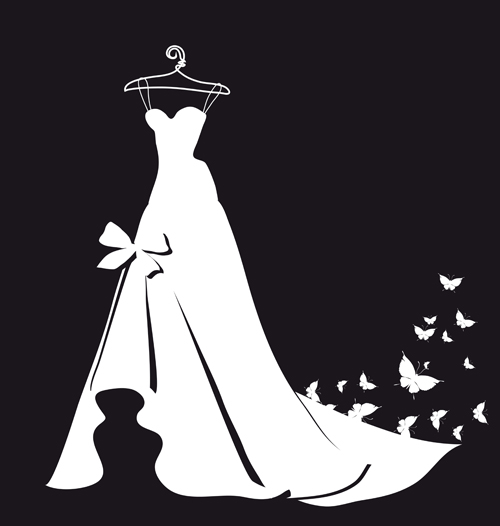 Wedding dress silhouette design vector 05 vector silhouettes free
