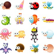 Big-eyed insects and animals vector