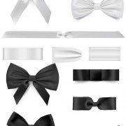 Link toBlack with white bow ribbon vector