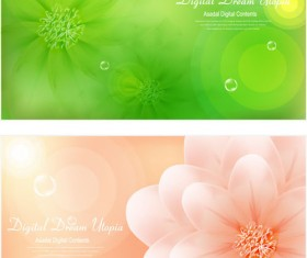 Brilliant flowers background material vector 01