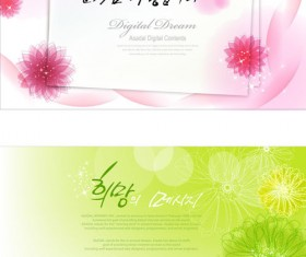 Brilliant flowers background material vector 02