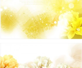 Brilliant flowers background material vector 03