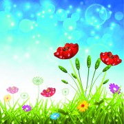 Brilliant spring natural vector background material 04