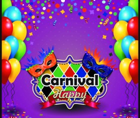 Carnival night background with mask vector 02