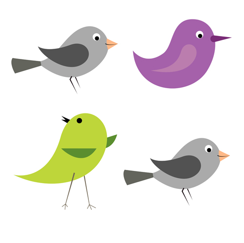 Cartoon Birds Icons Vector And Photoshop Brushes Over