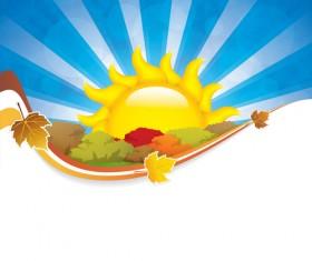 Cartoon summer sun vector background 04