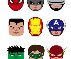 Cartoon superheroes head portrait vector