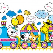 Link toCartoon train and small animals vector