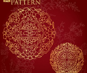 Chinese style floral pattern vector graphic 02