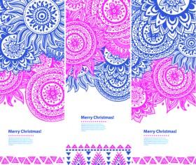 Christmas ethnic pattern banner vector 02