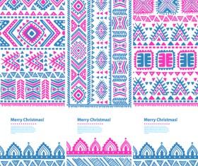 Christmas ethnic pattern banner vector 03