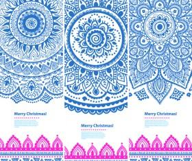 Christmas ethnic pattern banner vector 04