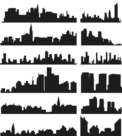 City Building Creative Silhouettes Design Vector Vector