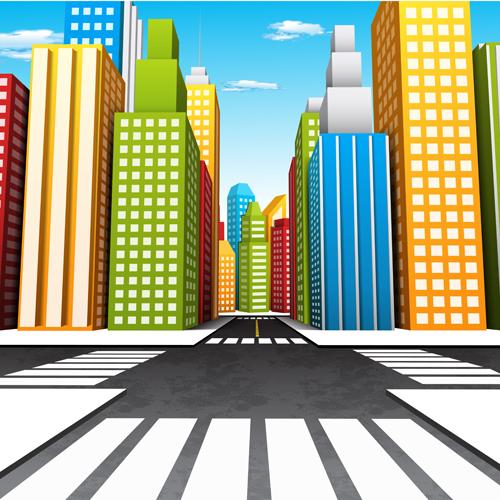 city skyscrapers design vector background set 01 - vector