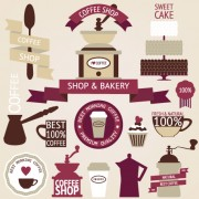 Coffee menu labels and ribbon banner vector 01
