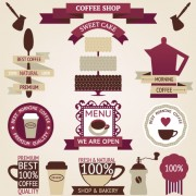 Coffee menu labels and ribbon banner vector 02