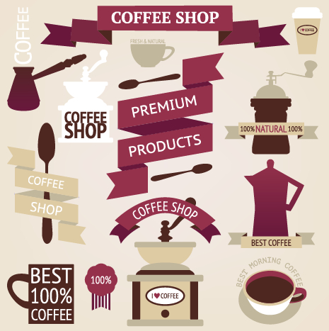 Coffee menu labels and ribbon banner vector 03 – Over