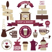 Coffee menu labels and ribbon banner vector 04