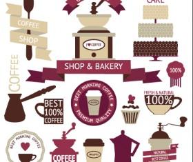 Coffee menu labels and ribbon banner vector 04