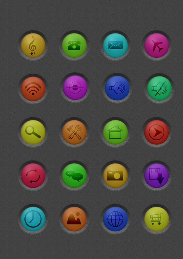 Colored embossment social icons