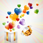 Link toColored heart shaped balloon with gift box vector