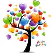 Link toColored heart tree happy birthday card vector