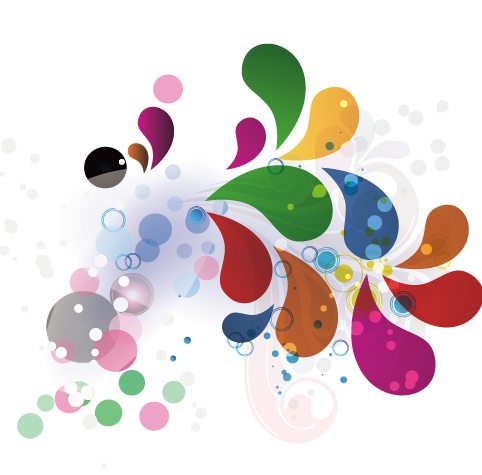 Colored Water Drop Shapes Background Vector Over