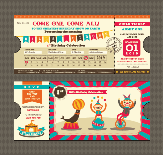 Creative Happy Birthday ticket design vector 02