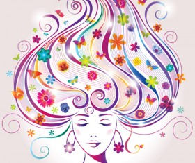 Creative floral hair with woman vector 02