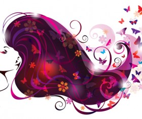 Creative floral hair with woman vector 03