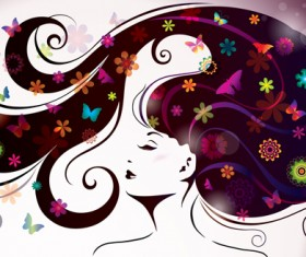 Creative floral hair with woman vector 04