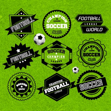 Creative football labels design vector graphics 01