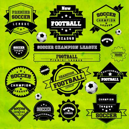 Creative football labels design vector graphics 02