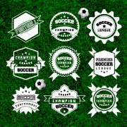 Creative football labels design vector graphics 03