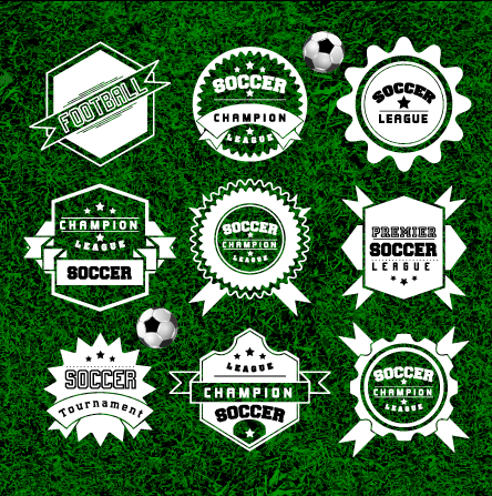 Creative football labels design vector graphics 03