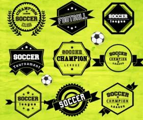 Creative football labels design vector graphics 05
