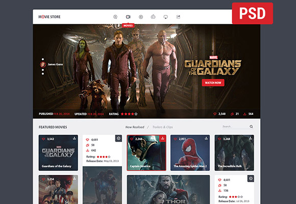 Creative movie store website template - Web Elements PSD File free ...