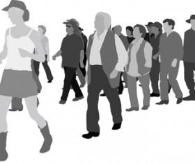 Creative people silhouettes design vector set 02