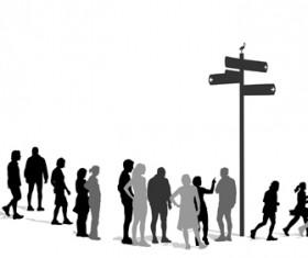 Creative people silhouettes design vector set 03