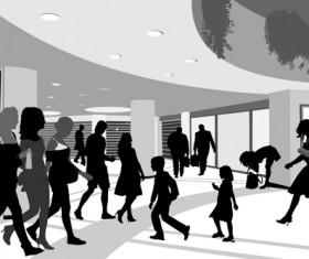 Creative people silhouettes design vector set 04