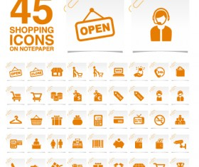 Creative shopping icons stickers vector 02