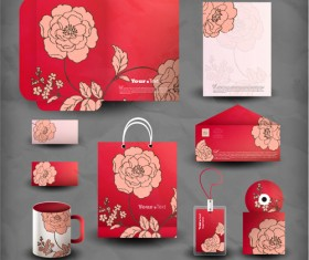 Creative stationery cover kit vector set 01