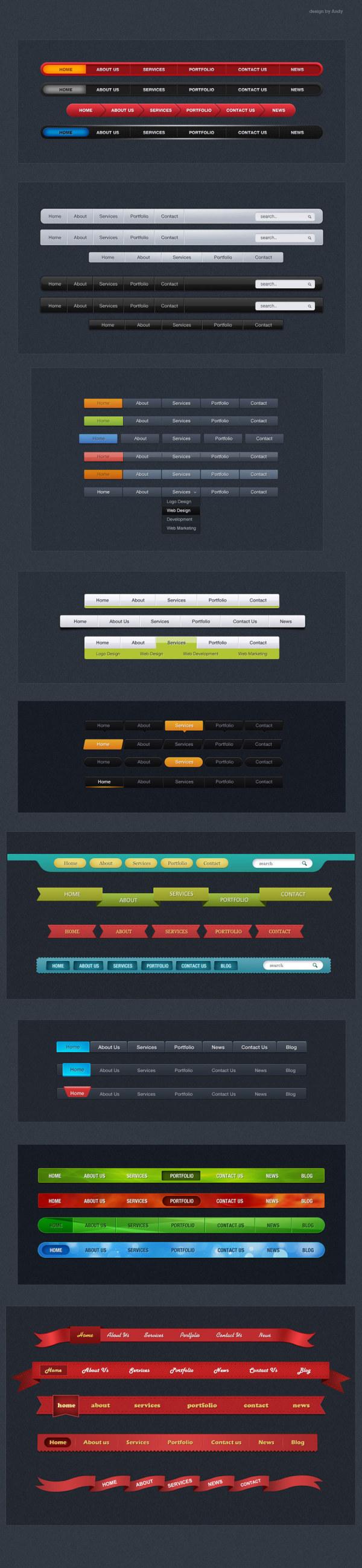 Creative web navigation psd material set